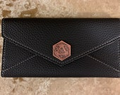 D20 Coin Black Vegan Leather Ladies Purse wallet Pathfinder, Dungeons and Dragons