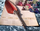 Scarlet Feather Fountain Calligraphy Pen for RPG Games like Dungeons and Dragons and Pathfinder. DnD Gifts RPG Gift