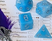 Blue Jade Polyhedral Dice for RPG Games like Dungeons and Dragons and Pathfinder. DnD Gifts RPG Gift