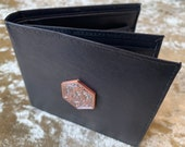 Rose Gold D20 Mens Black Leather Wallet with Coin Pouch DnD Gift for Dungeons and Dragons fans