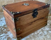 Solid Wood Waxed Treasure Chest Dungeons and Dragons Dice Box Chest with metal Dragon for DnD