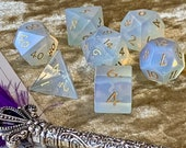 Handmade Opalite semi-precious gem stone dice, engraved with gold ink. Polyhedral Dungeons and Dragons hexagonal Dice box vault for DnD Dice