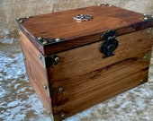 Solid Wood Waxed Treasure Chest Dungeons and Dragons DND Dice Box Chest with metal Celtic Knot Triquetra