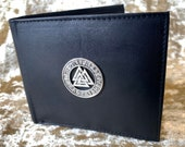 Vikings Valknut Mens Black Beautiful Nappa Leather Wallet With Coin Pouch DnD Gift for Dungeons and Dragons fans