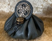 Celtic Wiccan Dice Bag Dungeons and Dragons Dark Green Leather Regular - DnD Dicebag Coin Pouch LARP Bag Dungeon Gifts RPG Gift Props
