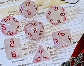 Moonstone Opal Red Polyhedral Dice for RPG Games like Dungeons and Dragons and Pathfinder. DnD Gifts RPG Gift