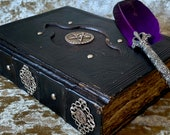 A5 BOS Book of Shadows Spell Book Old Antique Grimoire Tome Notebook Journal with Deckled Parchment Dungeons and Dragons for witchcraft