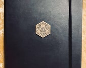Grade B A5 Notebook Journal for Dungeons and Dragons Vegan Leather Matte Black D20  diary for Dnd and Pathfinder Notes