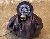 Dungeons and Dragons Vikings, Valknut Leather Regular Dice Bag DnD Dicebag Coin Pouch, Runes Bag for DnD Gifts RPG Gift Props Handmade