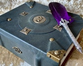 Dungeons & Dragons RPG Beautiful Luxury Leather Bound Book Box in Dark Green with Metal Pentacle moons.
