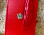 A5 Notebook Journal for Dungeons and Dragons Red Vegan Friendly D20 for Dnd and Pathfinder Notes includes feather pen gift set
