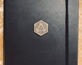 A5 Notebook Journal for Dungeons and Dragons Vegan Leather Matte Black D20 for Dnd and Pathfinder Notes