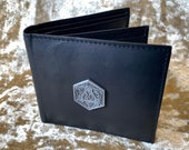 D20 Mens Black Leather Wallet with Coin Pouch DnD Gift for Dungeons and Dragons fans