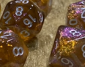 Faerie Fire Polyhedral Dice for RPG Games like Dungeons and Dragons. Purple/gold shimmer. DnD Gifts RPG Gift