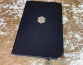 A5 Notebook Journal for Dungeons and Dragons Vegan Leather Matte Black D20 Diary for Dnd and Pathfinder Notes