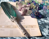 Green Feather Fountain Calligraphy Pen for RPG Games like Dungeons and Dragons and Pathfinder. DnD Gifts RPG Prop Gift