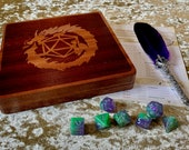 Solid Dark Wood Magnetic Close Dice Box, Dice Vault, Dice Tray and Holder for Dungeons and Dragons. DM Gift for DnD and Pathfinder.