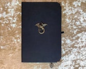 Grade B A5 Notebook Journal for Dungeons and Dragons Vegan Leather Matte Black Dragon for Dnd and Pathfinder Notes