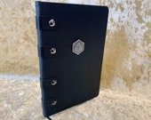 A5 Notebook Journal Tome for Dungeons and Dragons Vegan Leather Matte Black D20 for Dnd and Pathfinder Notes