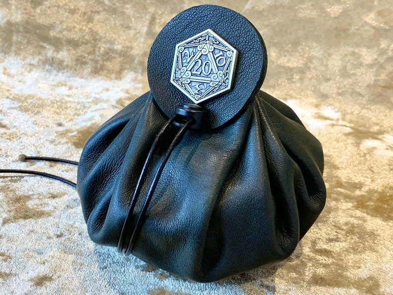 Dice Bag Dungeons and Dragons Dark Green Leather Regular Dice image 0