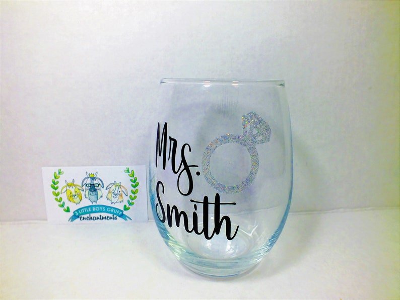 Wedding Mrs.  Personalized Stemless Wine Glass wineglasses image 0