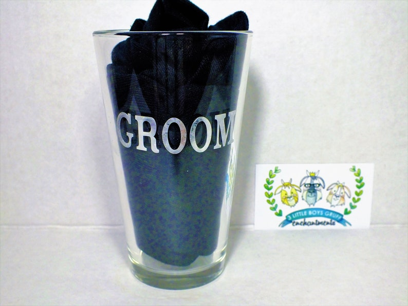 Metalic Personalized Groom's Pint Glass   Wedding image 0