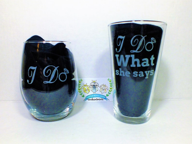 Etched His and Hers Wedding Glasses-Bridal Shower Gift image 0