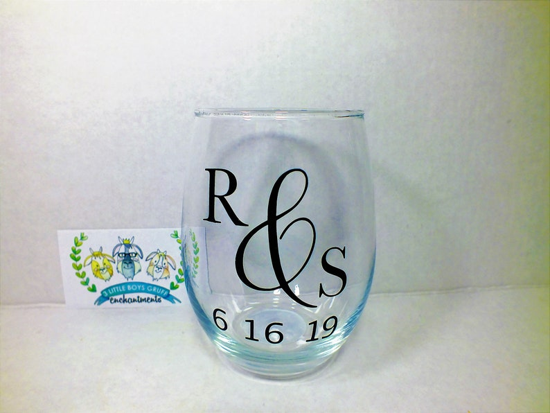 Simple Initials  Personalized Stemless Wine Glass wineglasses image 0