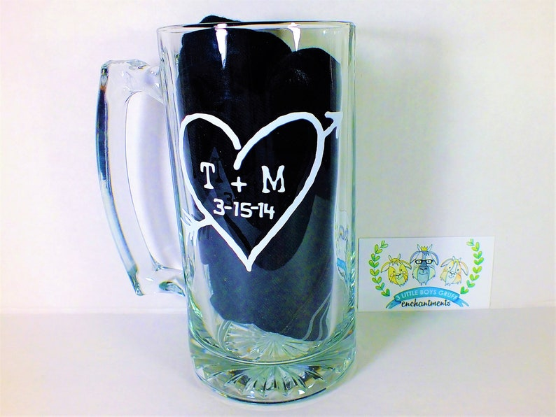 Carved Initials in a Heart Beer Stein   Wedding Toasting image 0