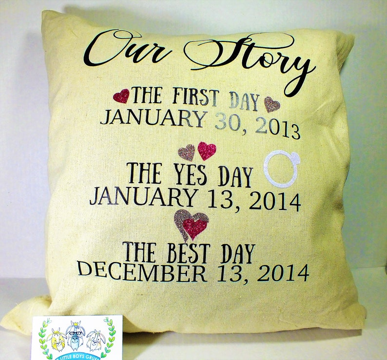 Our Story Pillow  Wedding Gift for the Couple Bride Groom image 0
