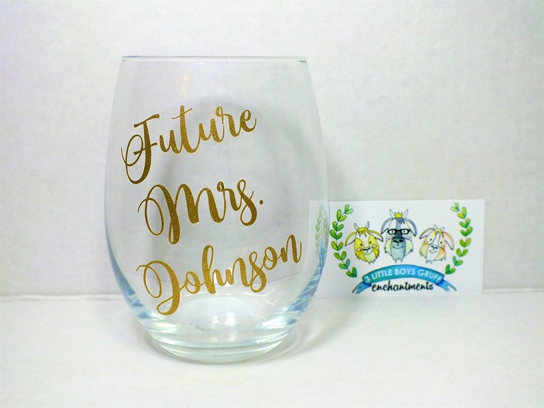 Future Mrs.  Personalized Stemless Wine Glass wineglasses image 0
