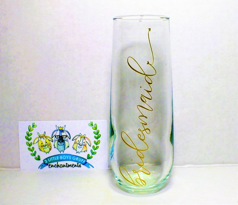 Bridesmaids' 8 oz Stemless Champagne Glass-Wedding Gift image 0