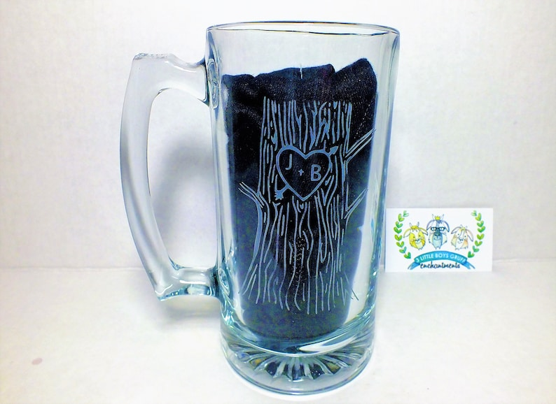 Etched Carved Tree Beer Stein   Wedding Toasting Glasses image 0