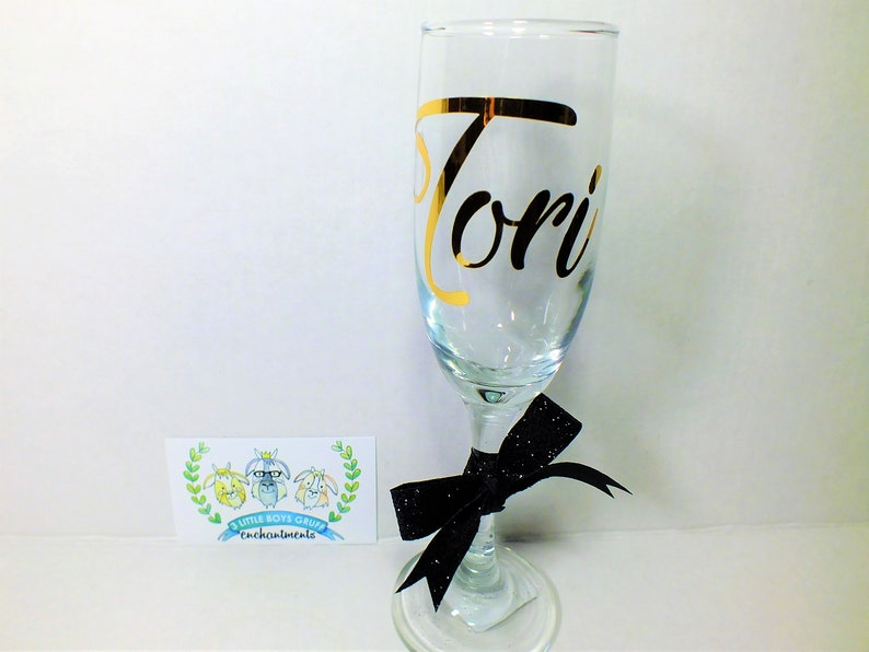 Personalized Bridesmaids' Champagne Glass  Wedding image 0