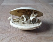 Vintage Japanese Celluloid Hand Carved Clam Shell Scene Diorama