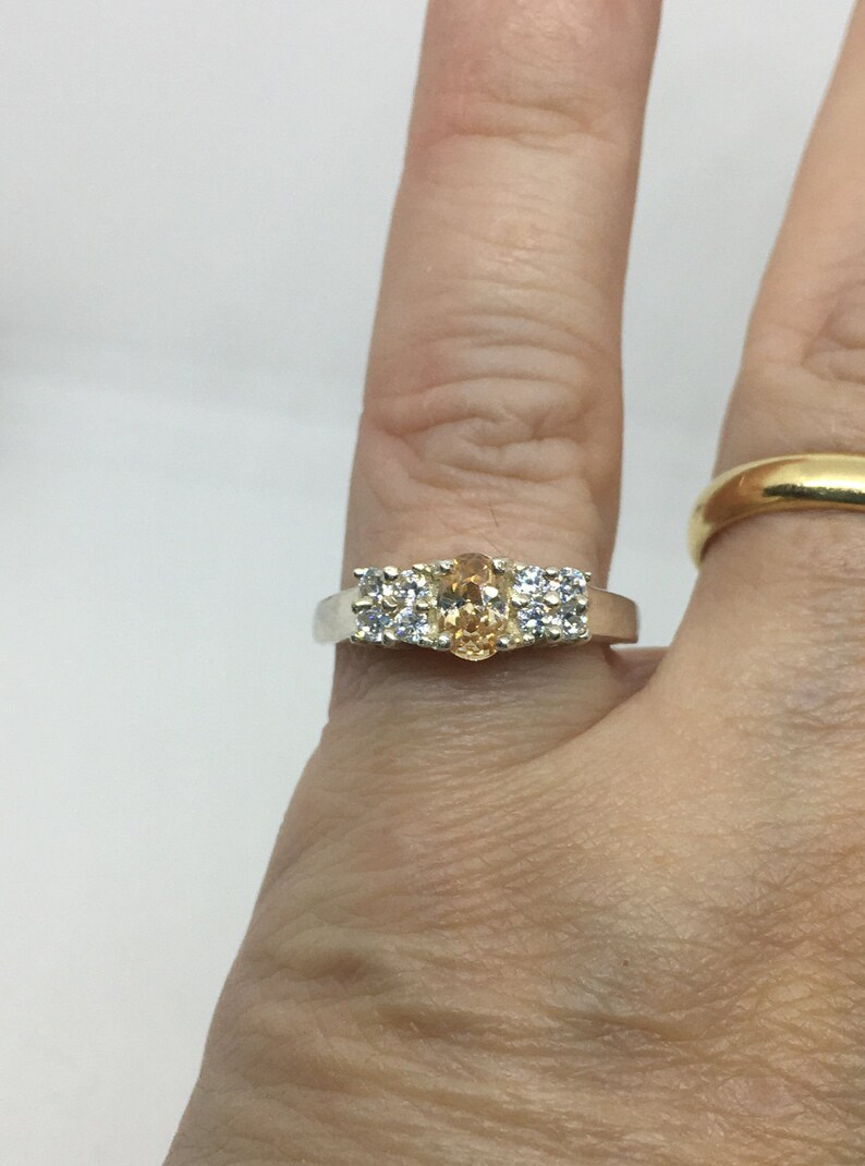 Great Gift for Mom! Gift for Her Spectacular sparkle Size 6.5 Sterling Silver Yellow and Clear CZ Ring SS202001