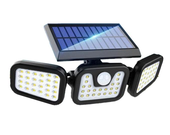 Outdoor Solar Light Waterproof with Motion Sensor LED Security Lights Floodlight, 3 Adjustable Head 74LED