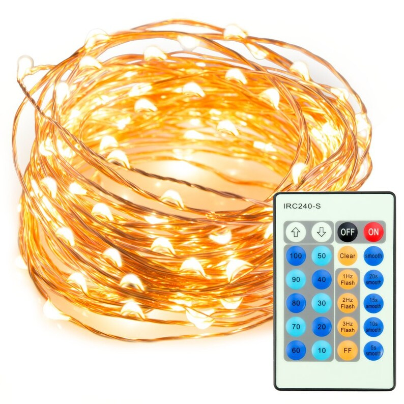 on sale c9565 fb26f LED Fairy String Lights with Remote Control, Dimmable Waterproof Copper  Lights for Christmas, Bedroom, Birthday, Wedding, Party, Warm White
