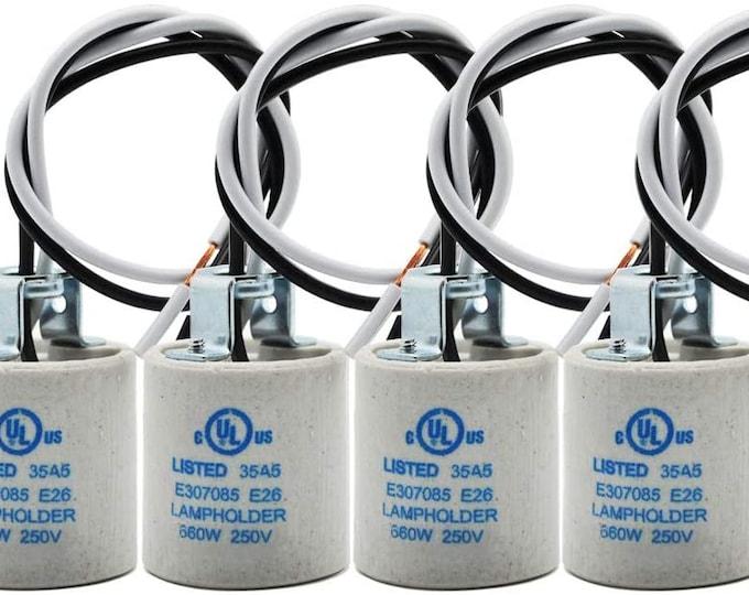 UL Ceramic E26 Medium Standard Socket Lamp Bulb Holder with Wire