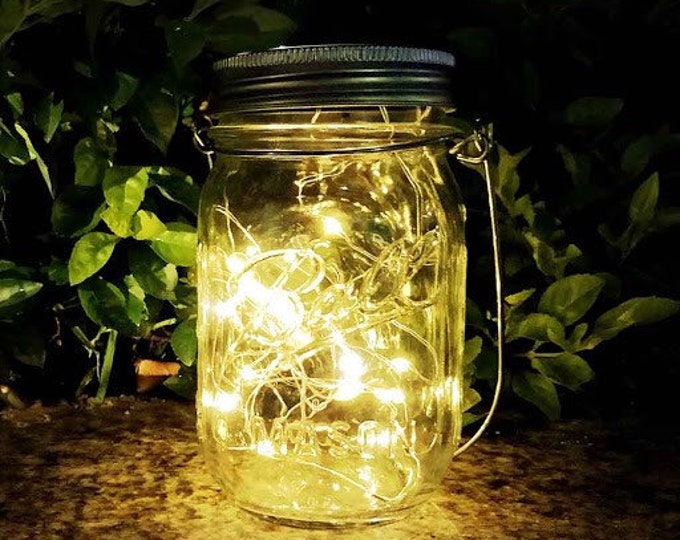 1pcs Outdoor Solar LED Hanging Lanterns with Mason Jar Lid Fairy String Lights for Christmas, Patio, Garden, Party