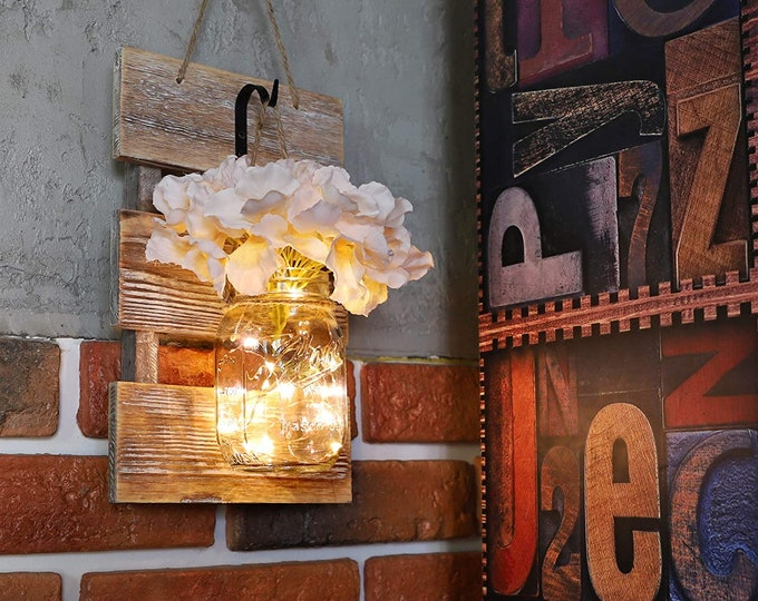 Set of 2 - Rustic Wall Sconces - Mason Jars Sconce with Wrought Iron Hooks, Flowers, LED Fairy Lights with Timer for Home Wall Decor Gift
