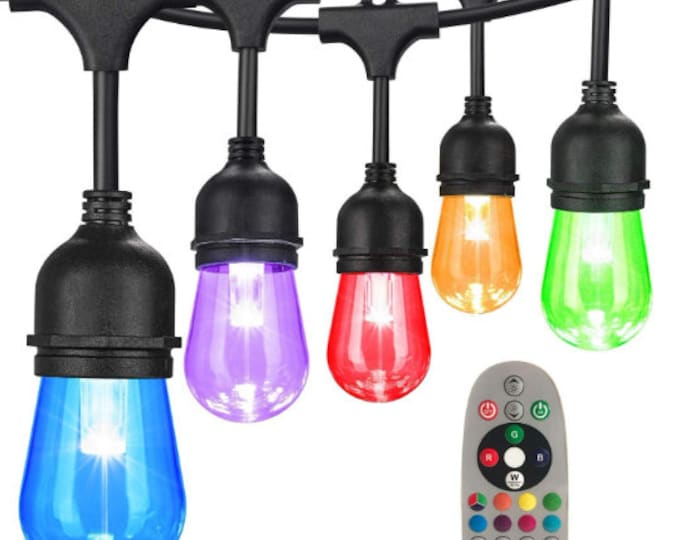 2-Pack 48ft Color Changing Outdoor LED String Light Remote Control with RGBW S14 Shatterproof Bulbs Dimmable for Patio Backyard Garden