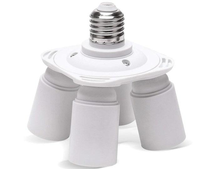 E26/E27 Edison Screw Standard Light Socket Splitter 4 in 1 Socket Adapter Converter For Garage Photographic studio