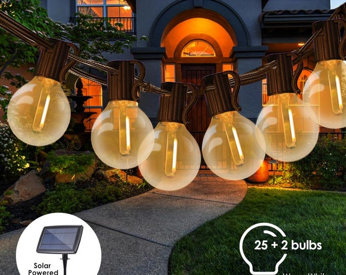 27FT Outdoor Solar LED String Lights with 25 Lights Weatherproof for Patio, Lawn, Backyard, Pergola, Porch, Party, Wedding