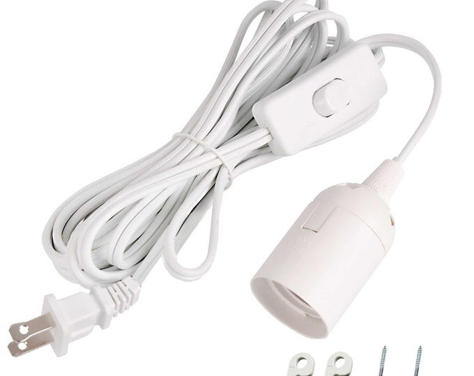 UL-Listed 12ft Hanging Light Socket Extension cord with E12 Candelabra Socket ON/OFF Switch For Lantern Pedant Light