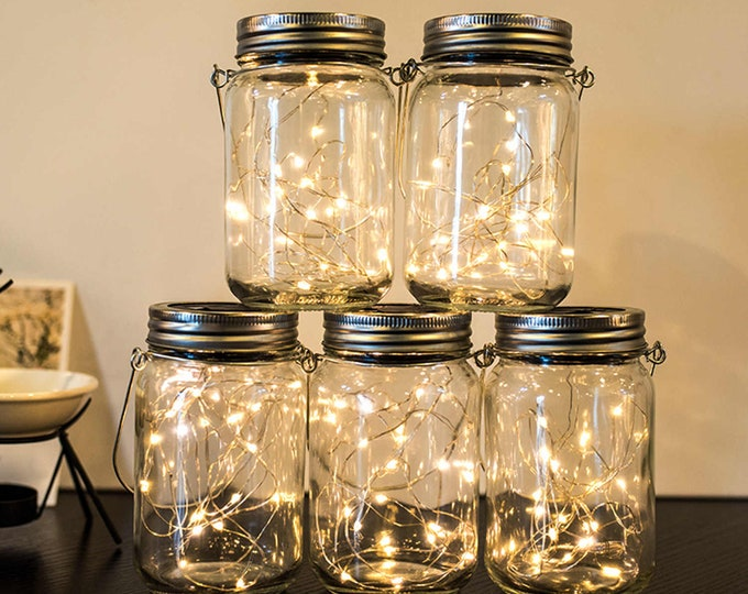 Outdoor Solar Lights with Mason Jar 30 leds Fairy String Lights LED Hanging Lanterns for Outdoor, Patio, Garden, Yard, Party, Gift