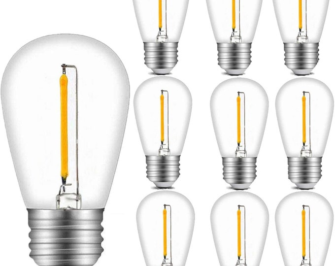 1W S14 LED Filament Plastic Bulb with E26 Edison Screw for Outdoor String Lights Bulbs Replacement
