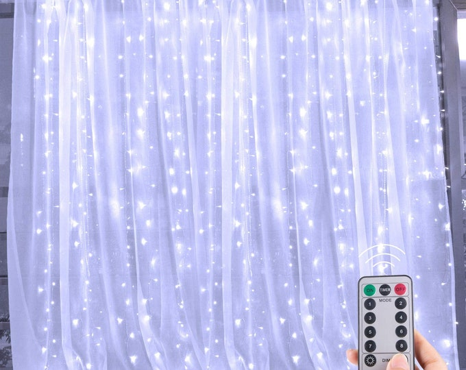 Cold White 6.6ft x 9.8ft LED Curtain String Light with IR Remote for Bedroom Curtain Wall Wedding Window Patio Decoration Gift