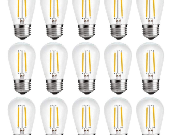 2W Dimmable S14 LED Filament Plastic Bulb with E26 Edison Screw for String Lights Replacement Bulbs