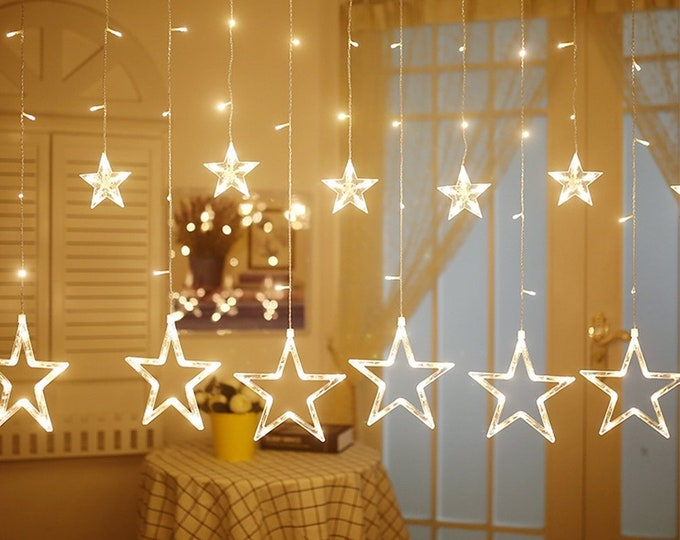 LED Fairy String Lights with 12 Stars for Kids, Bedroom, Wedding, Party, Window, Wall, Christmas Decorations Gift Warm White